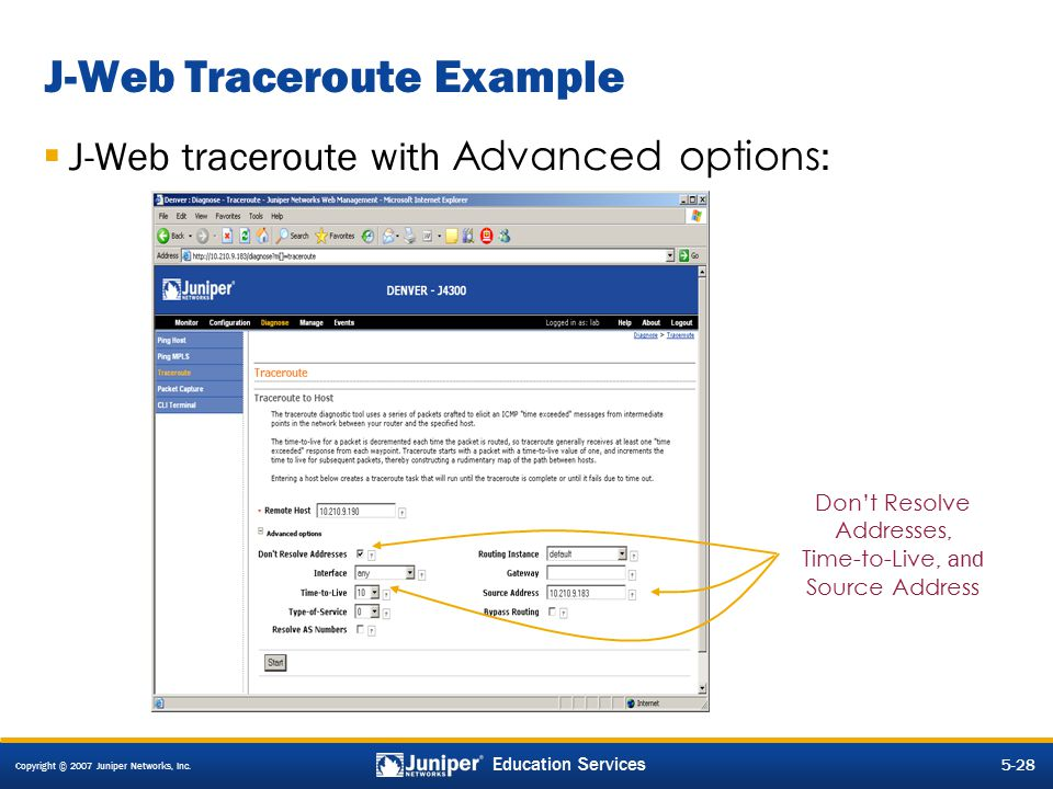 J-Web Traceroute Example