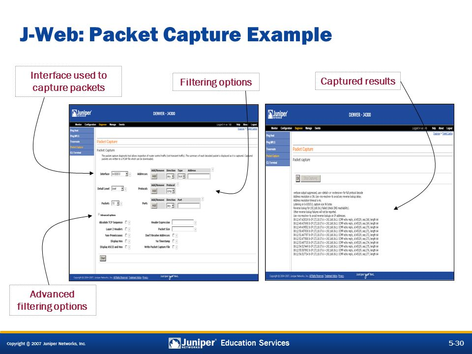 J-Web: Packet Capture Example