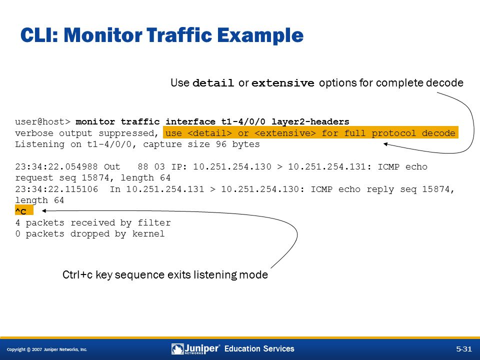 CLI: Monitor Traffic Example