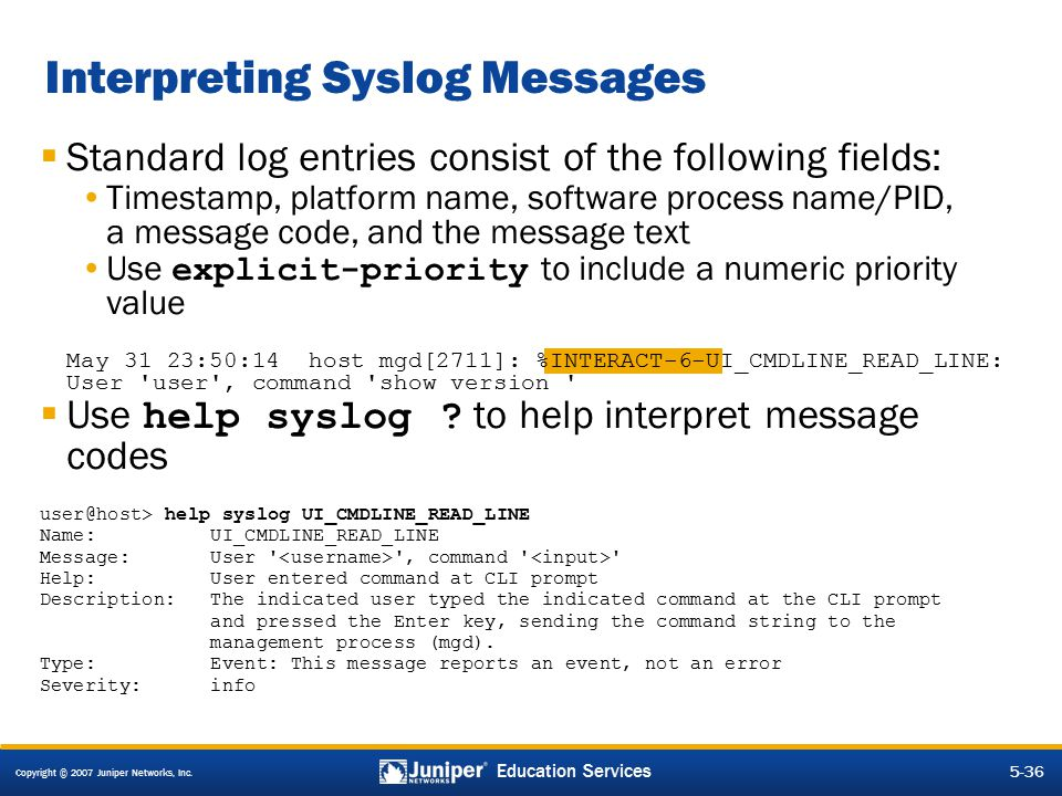 Interpreting Syslog Messages