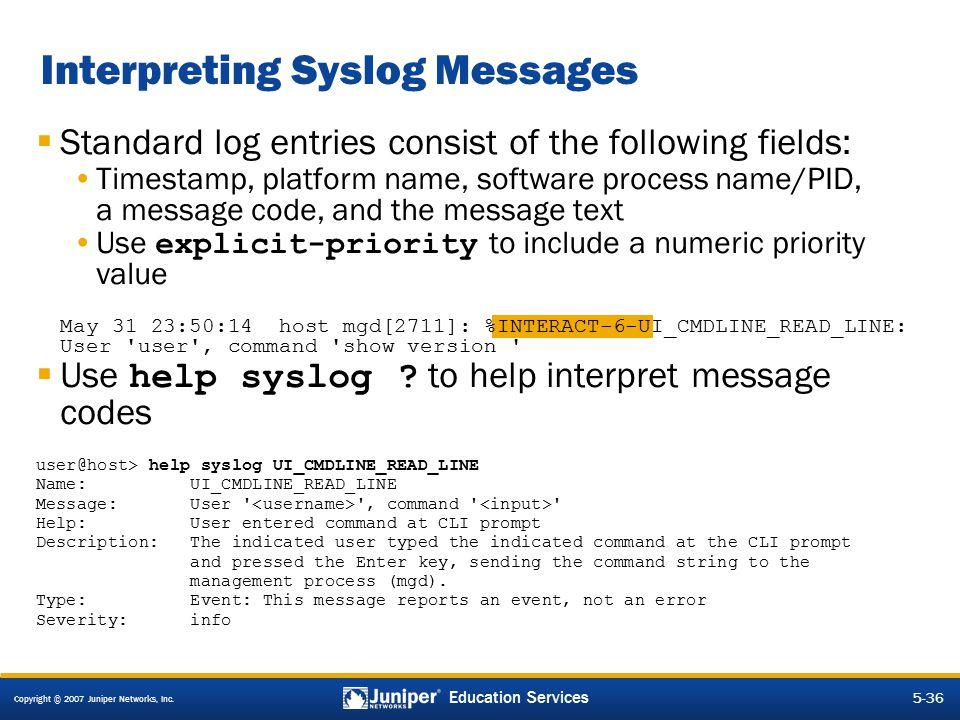 Interpreting Syslog Messages