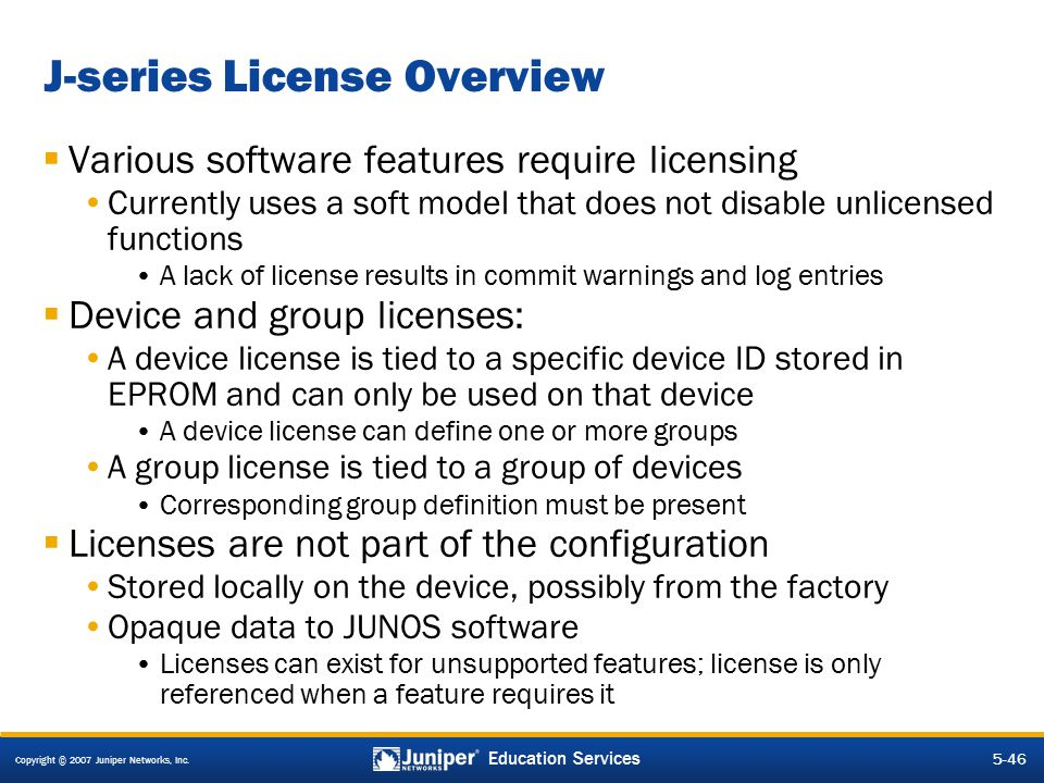 J-series License Overview