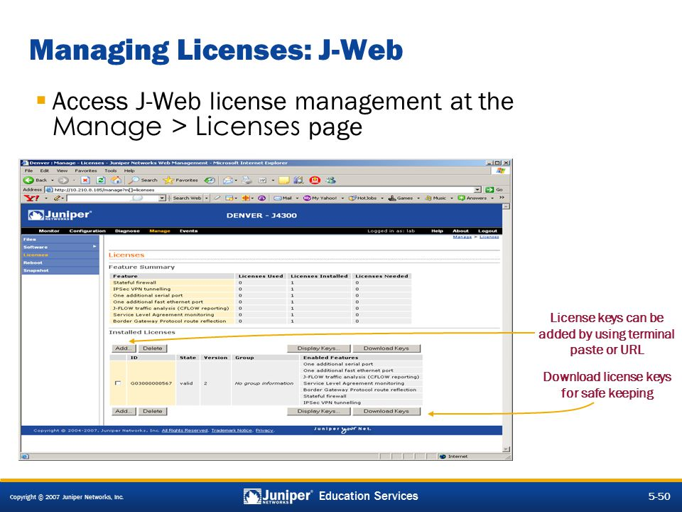 Managing Licenses: J-Web