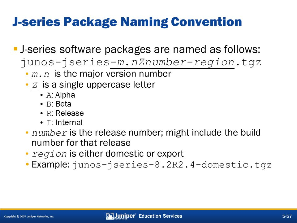 J-series Package Naming Convention