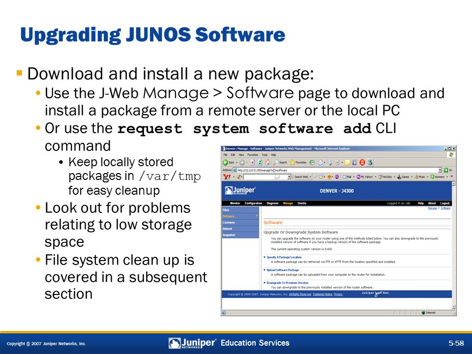 Upgrading JUNOS Software