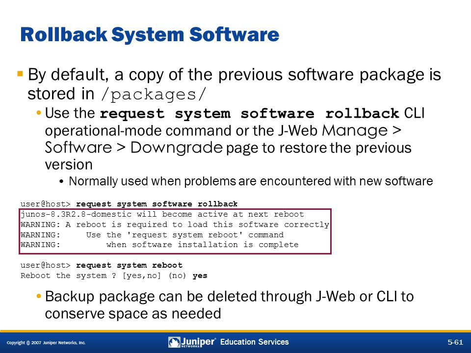 Rollback System Software