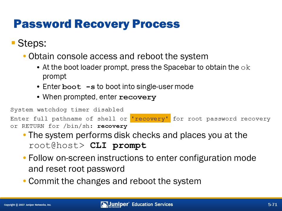 Password Recovery Process
