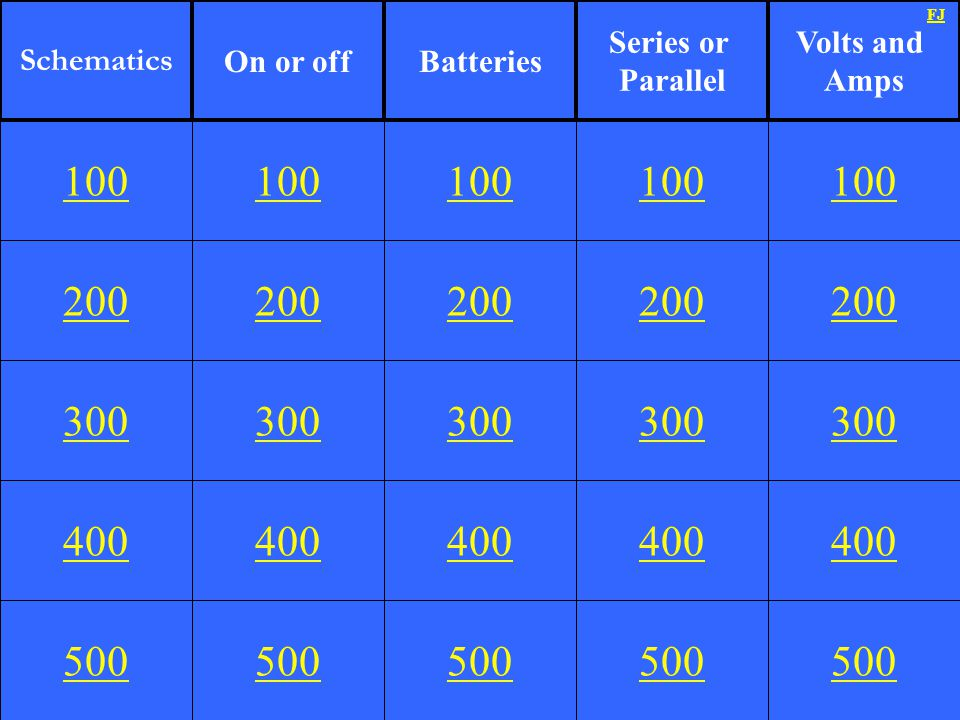 Schematics On or off. Batteries. Series or. Parallel. Volts and. Amps. FJ. 100. 100. 100. 100.