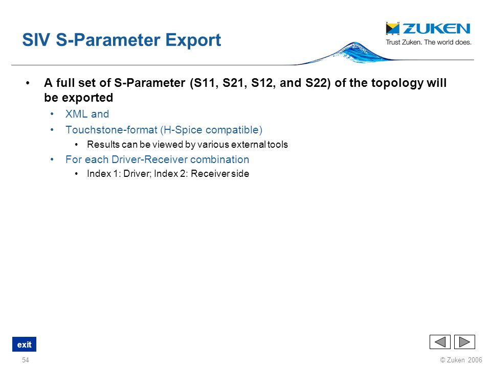 SIV S-Parameter Export