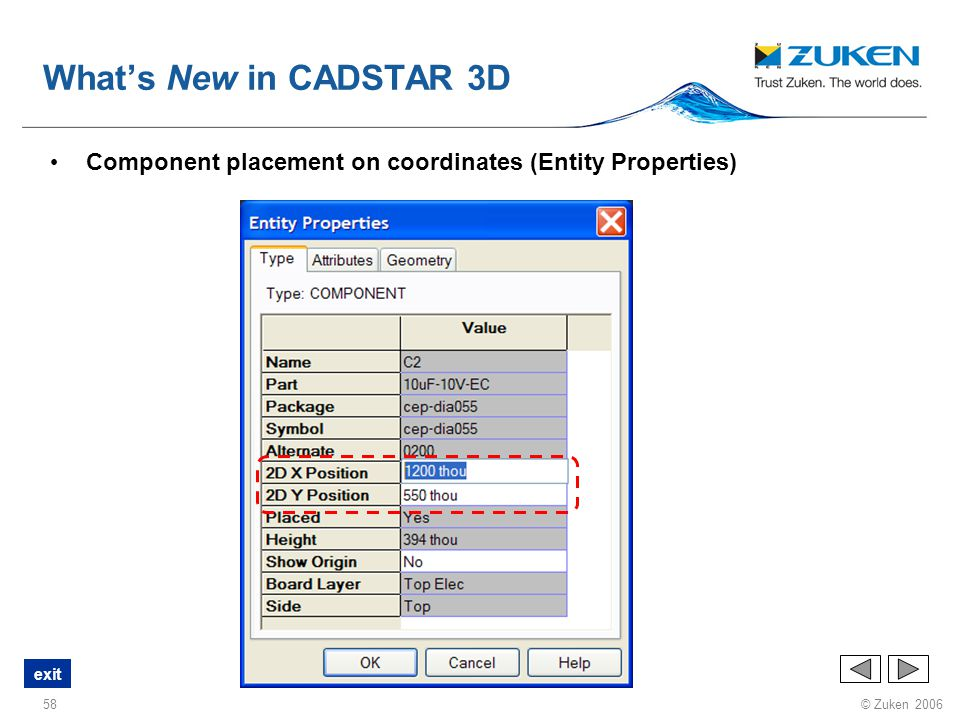 What's New in CADSTAR 3D Component placement on coordinates (Entity Properties)