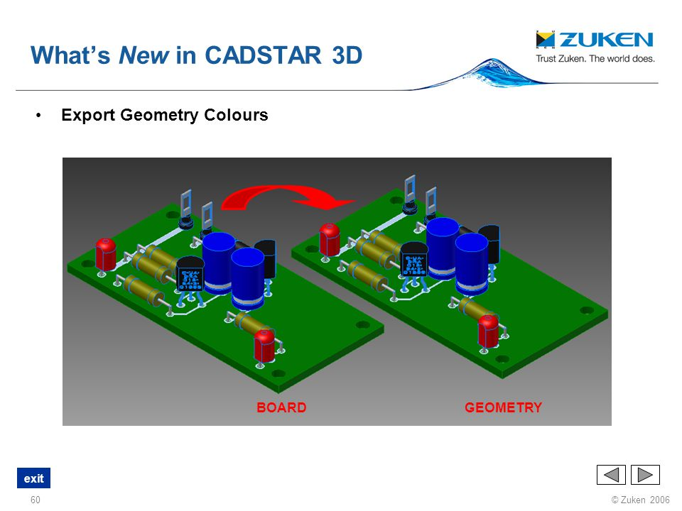 What's New in CADSTAR 3D Export Geometry Colours BOARD GEOMETRY