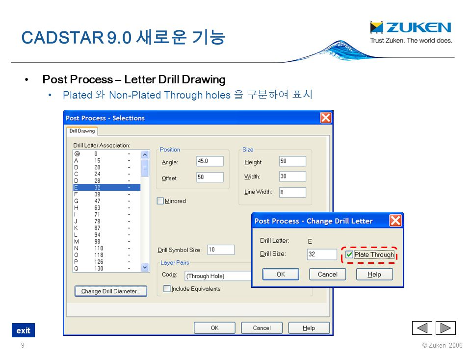 CADSTAR 9.0 새로운 기능 Post Process – Letter Drill Drawing
