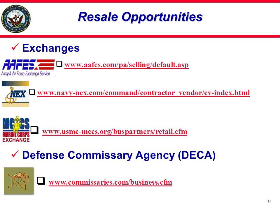 Resale Opportunities Exchanges