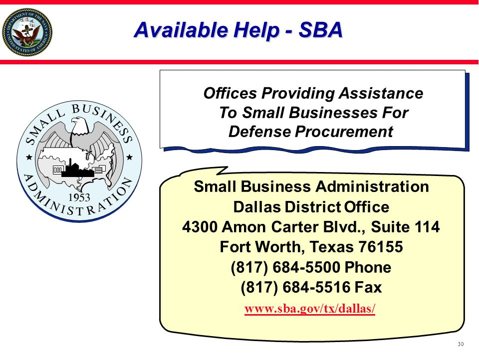 Offices Providing Assistance To Small Businesses For
