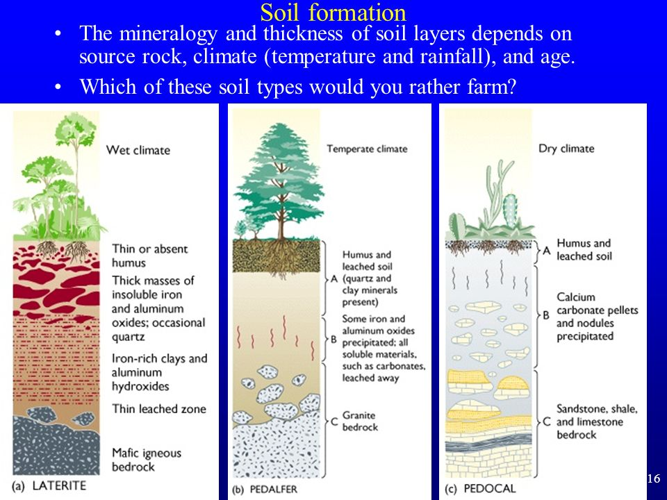 Soil formation The mineralogy and thickness of soil layers depends on source rock, climate (temperature and rainfall), and age.