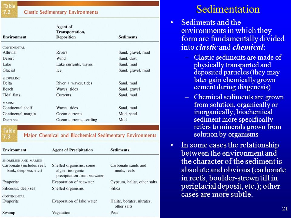 Sedimentation Sediments and the environments in which they form are fundamentally divided into clastic and chemical: