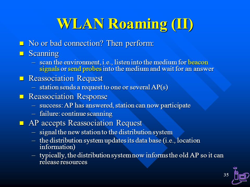 WLAN Roaming (II) No or bad connection Then perform: Scanning