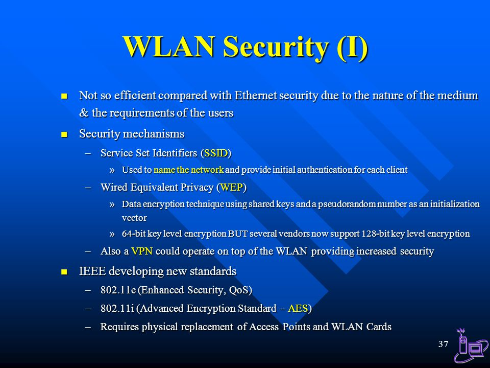 WLAN Security (I) Not so efficient compared with Ethernet security due to the nature of the medium & the requirements of the users.