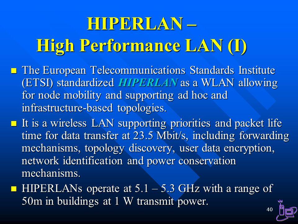 HIPERLAN – High Performance LAN (I)