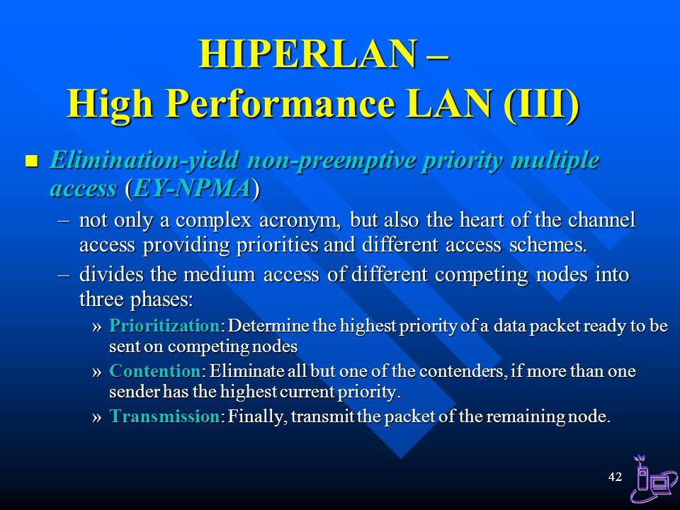 HIPERLAN – High Performance LAN (III)