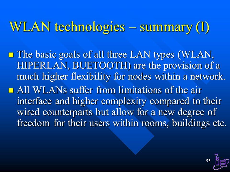 WLAN technologies – summary (I)