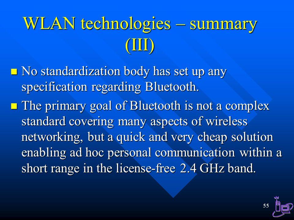 WLAN technologies – summary (III)