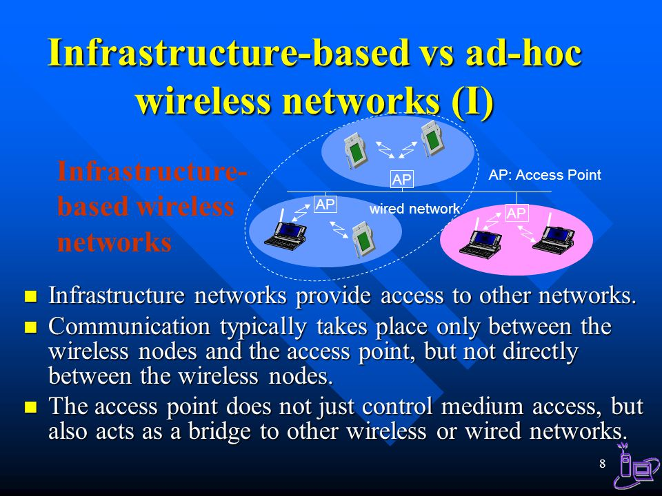 Infrastructure-based vs ad-hoc wireless networks (I)
