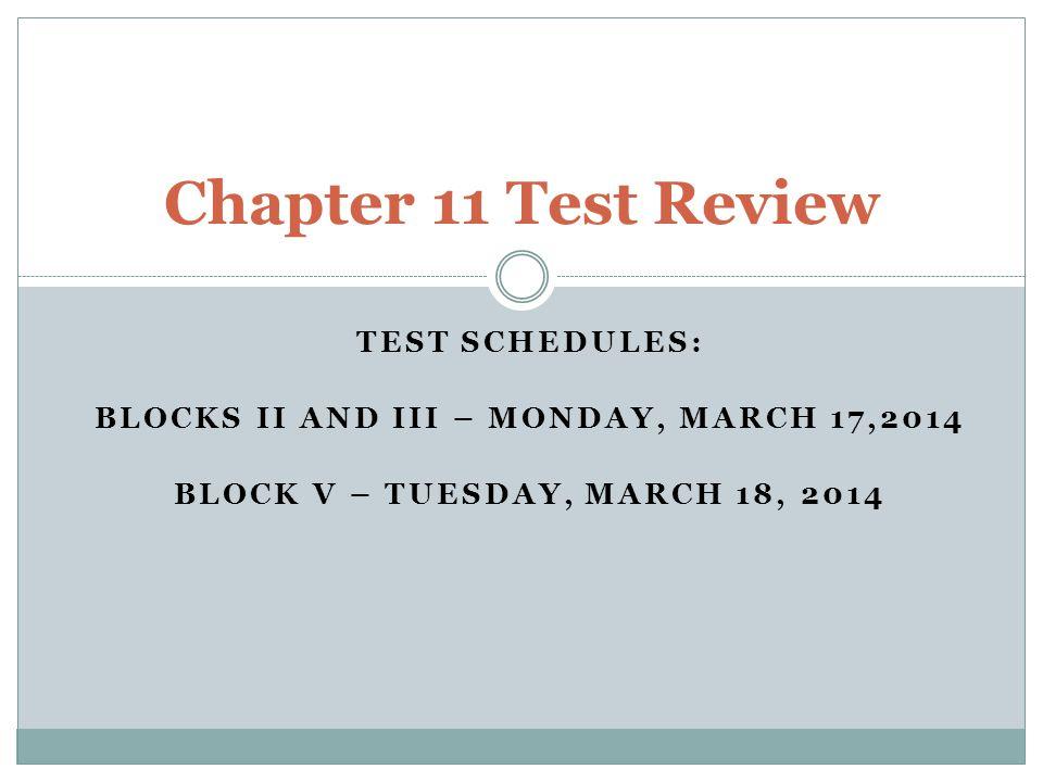 Blocks II and III – Monday, March 17,2014