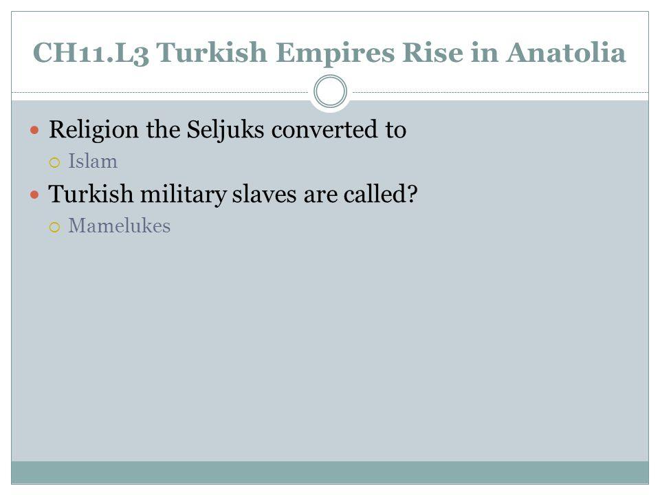 CH11.L3 Turkish Empires Rise in Anatolia