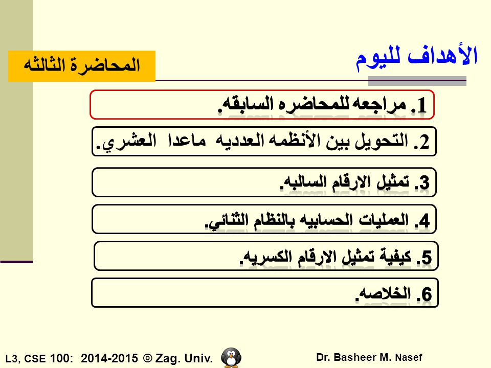 الأهداف لليوم المحاضرة الثالثه 1. مراجعه للمحاضره السابقه.