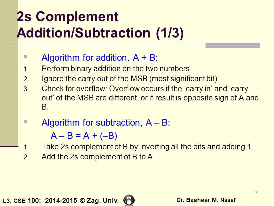2s Complement Addition/Subtraction (1/3)