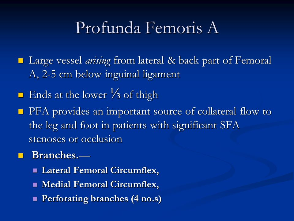 Profunda Femoris A Large vessel arising from lateral & back part of Femoral A, 2-5 cm below inguinal ligament.