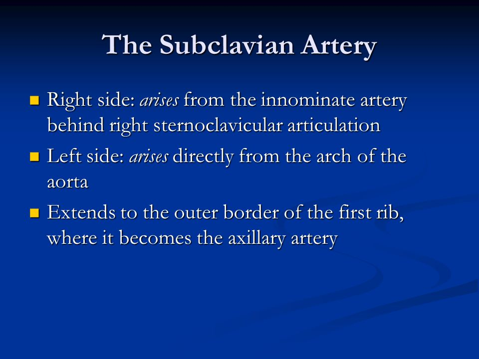 The Subclavian Artery Right side: arises from the innominate artery behind right sternoclavicular articulation.