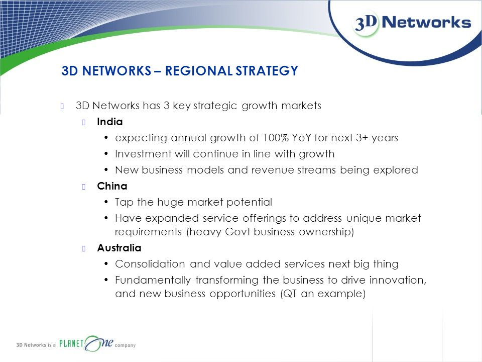 3D NETWORKS – REGIONAL STRATEGY