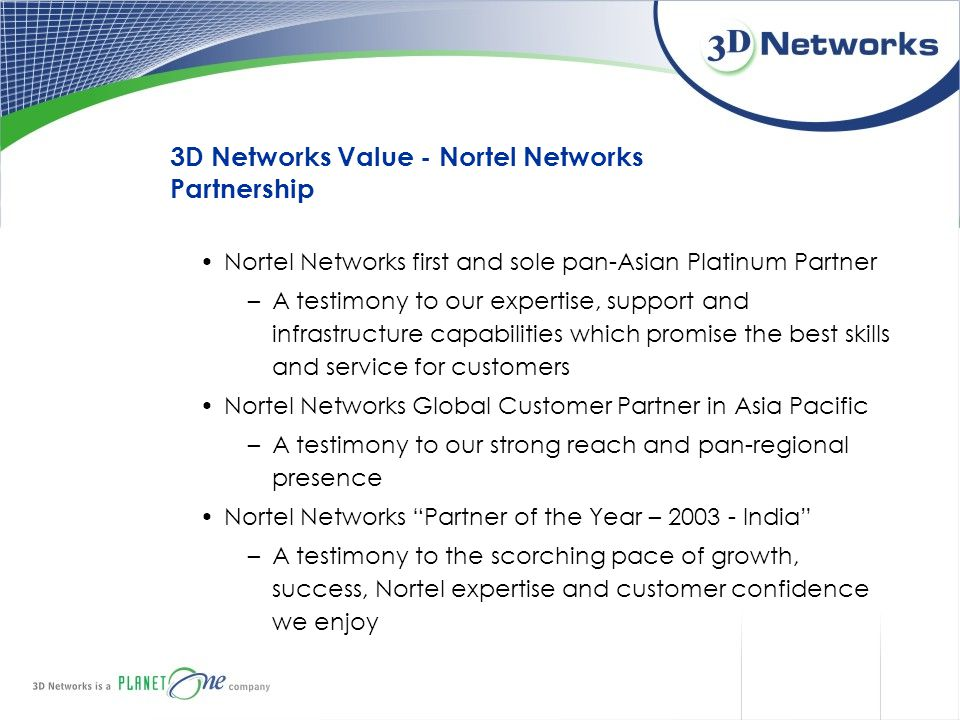 3D Networks Value - Nortel Networks Partnership