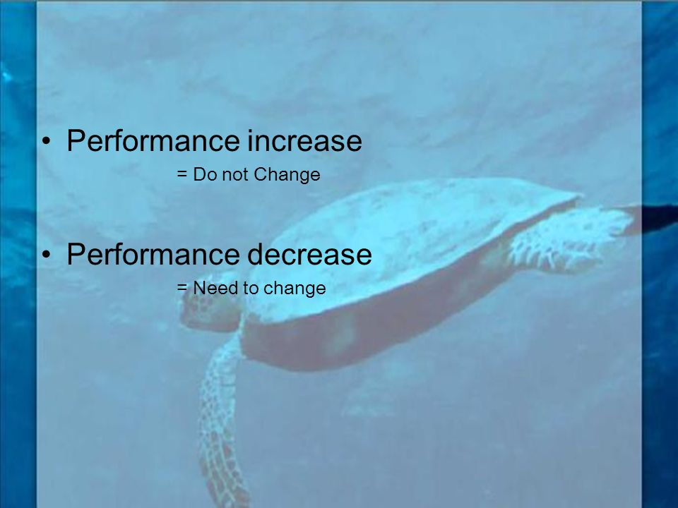 Performance increase Performance decrease = Do not Change