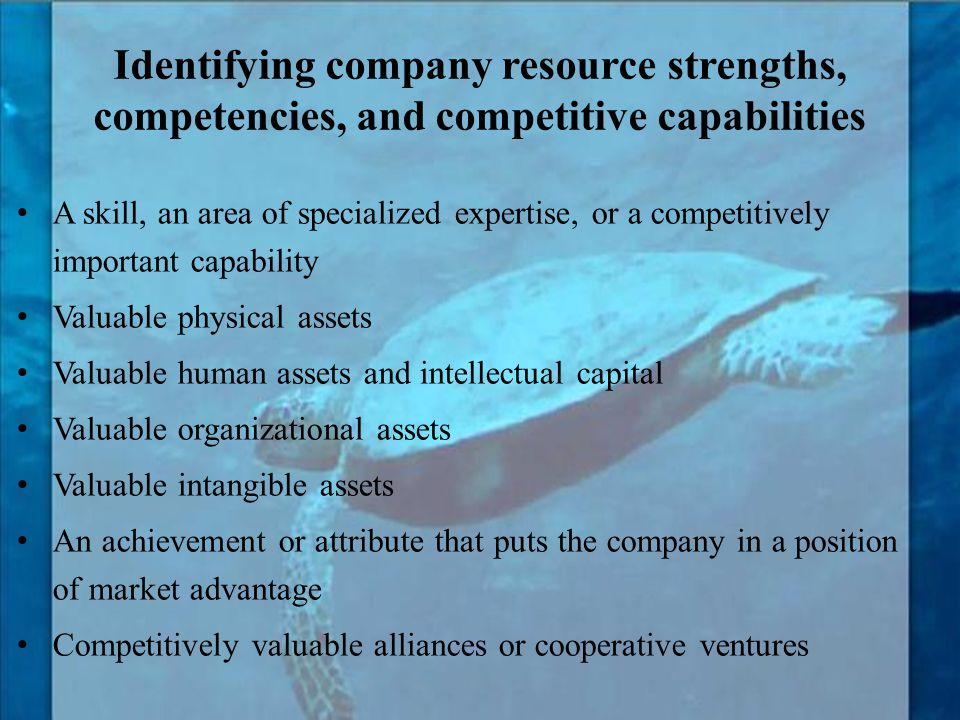 Identifying company resource strengths, competencies, and competitive capabilities