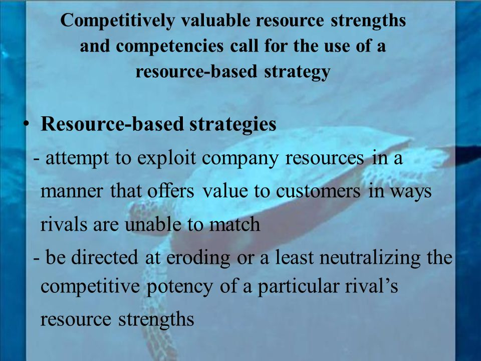 Resource-based strategies - attempt to exploit company resources in a