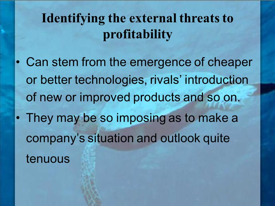 Identifying the external threats to profitability