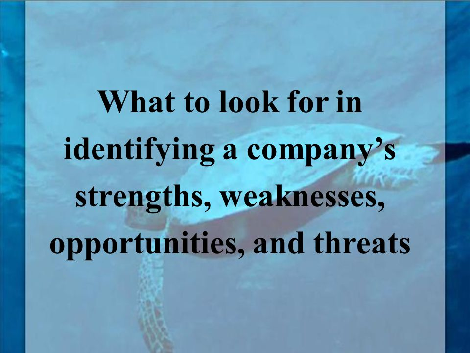 What to look for in identifying a company's strengths, weaknesses, opportunities, and threats