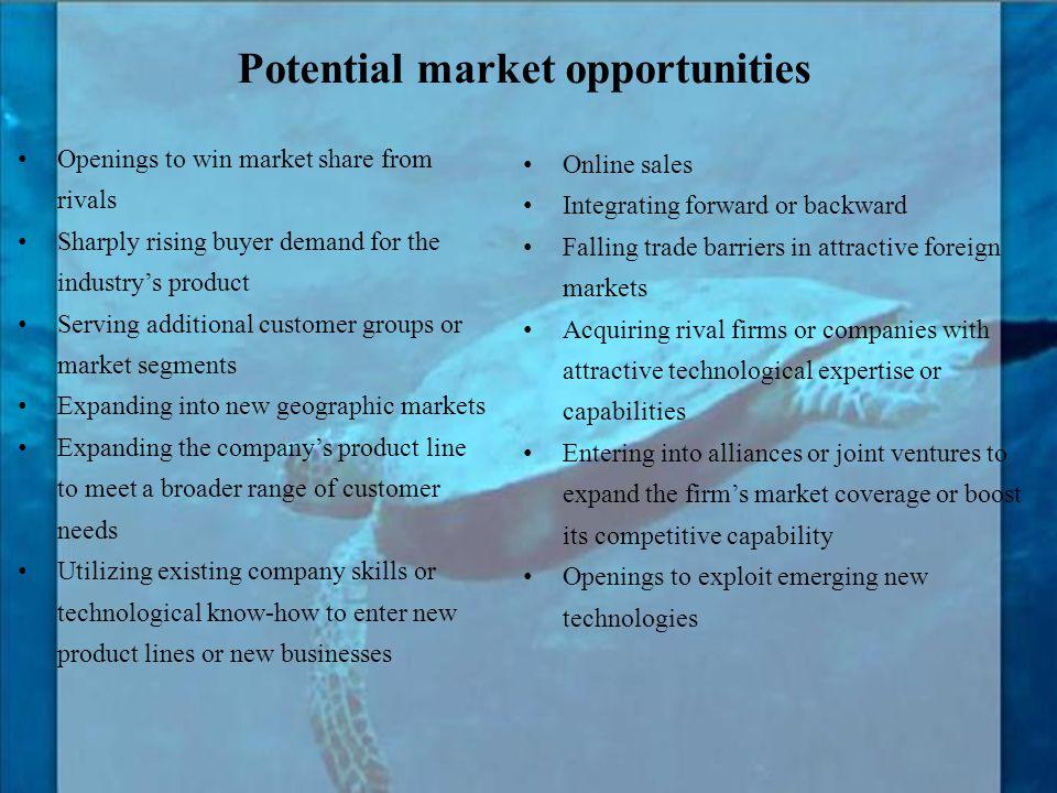 Potential market opportunities