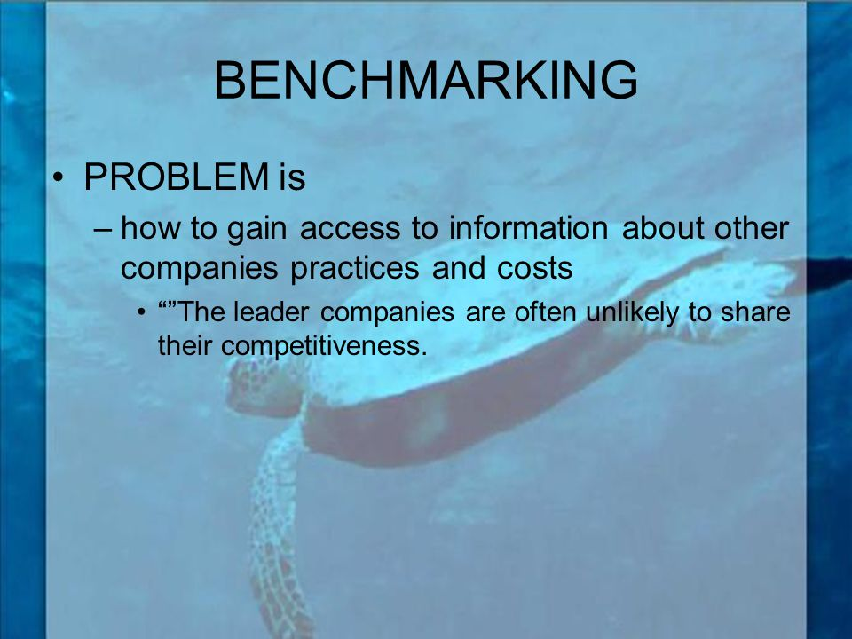 BENCHMARKING PROBLEM is