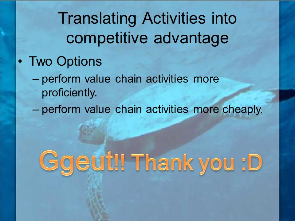 Translating Activities into competitive advantage