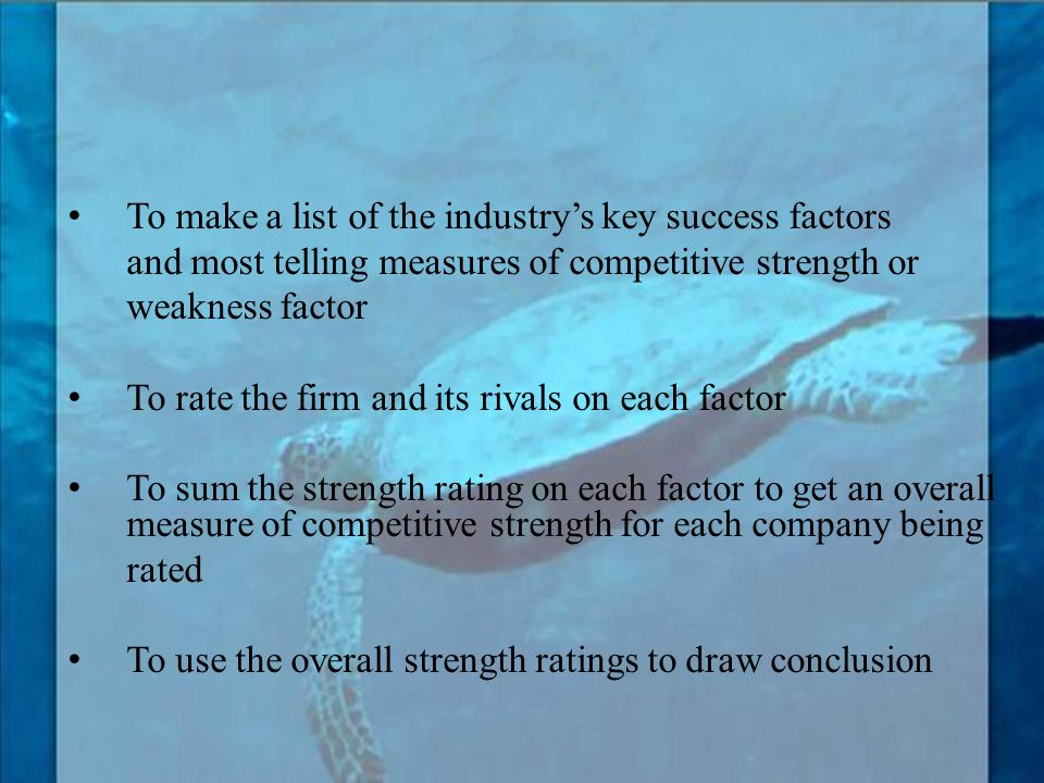 To make a list of the industry's key success factors