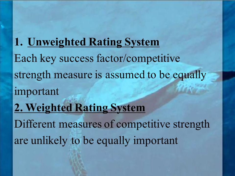 Unweighted Rating System