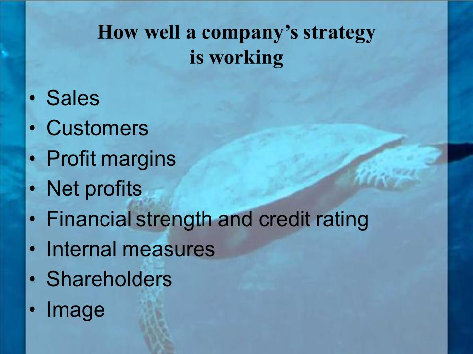 How well a company's strategy is working