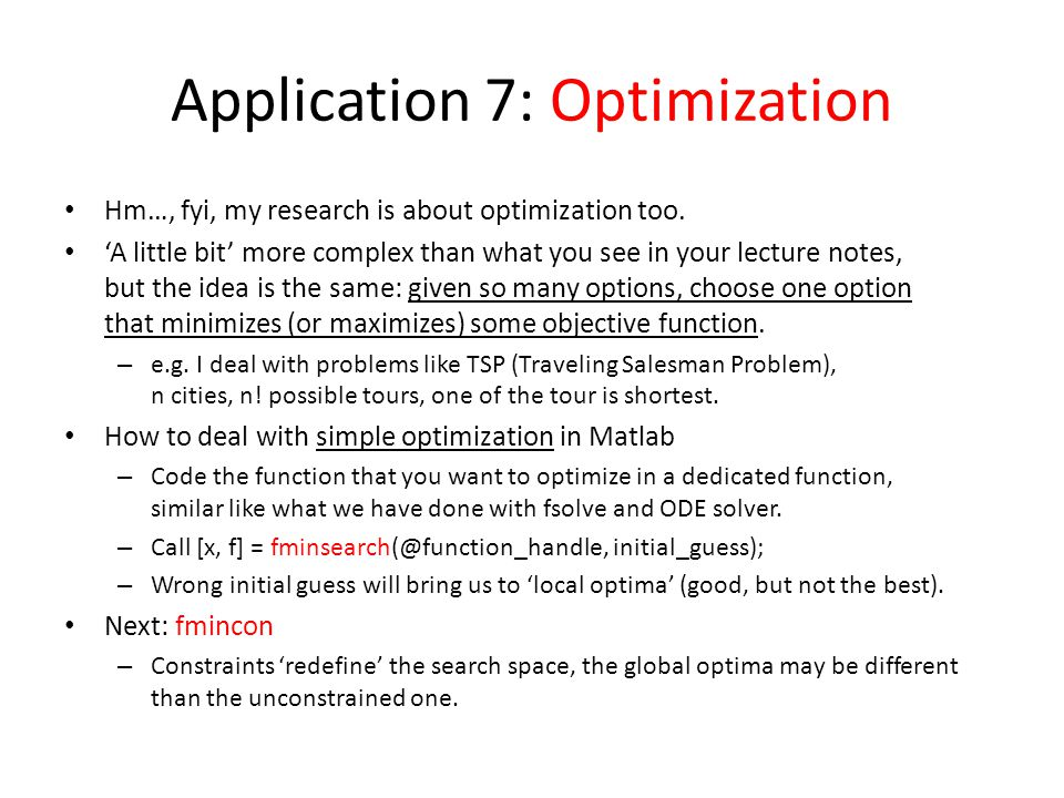 Application 7: Optimization