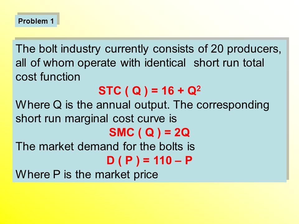 STC ( Q ) = 16 + Q2 SMC ( Q ) = 2Q D ( P ) = 110 – P