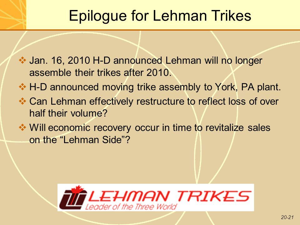 Epilogue for Lehman Trikes