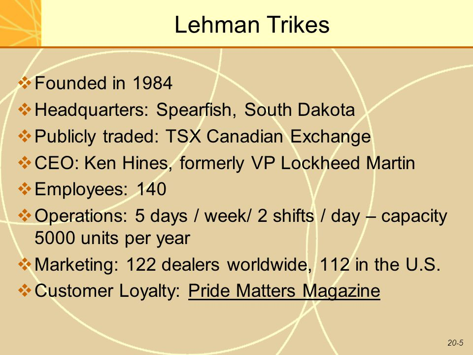 Lehman Trikes Founded in 1984 Headquarters: Spearfish, South Dakota
